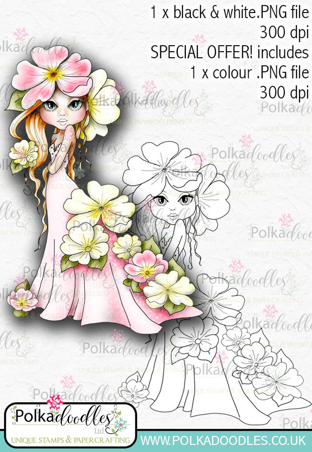 Primrose, The Darling Buds - Digital Craft Digi Stamp DOWNLOAD