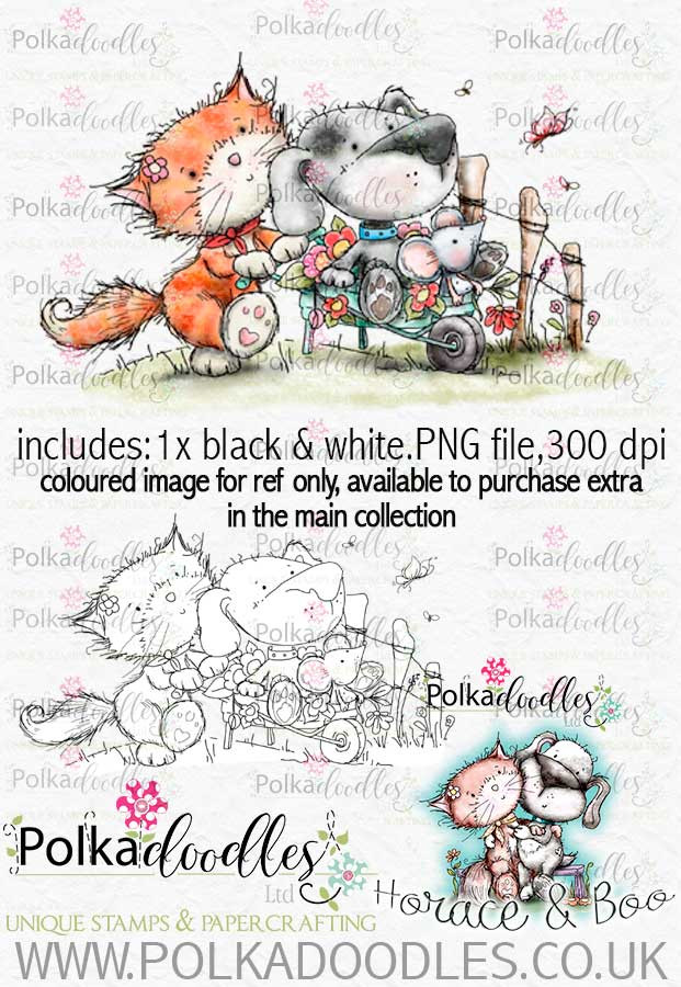 Wheelbarrow - Horace & Boo download printable stamp