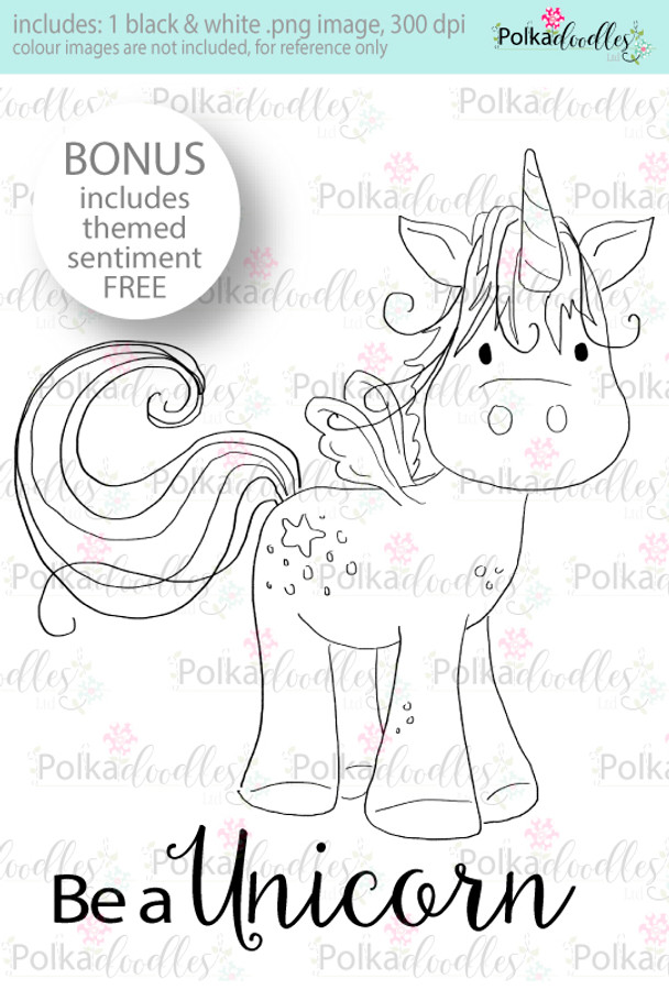 I am A Fluffy Unicorn Craft Digital stamp download with FREE Sentiment