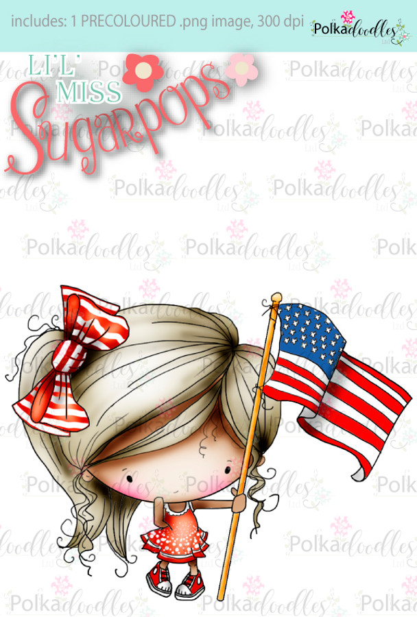 Miss USA, 4th July digi stamp - Lil Miss Sugarpops 3...Craft printable download digital stamps/digi scrap