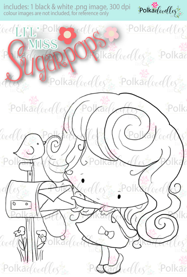 Mailing a Letter digi stamp - Lil Miss Sugarpops 3...Craft printable download digital stamps/digi scrap