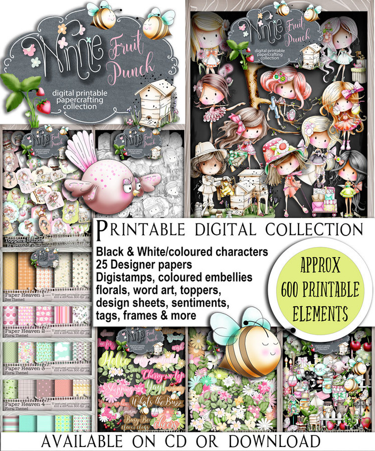 Winnie Fruit Punch (download) bundle - Printable Digital Craft kit