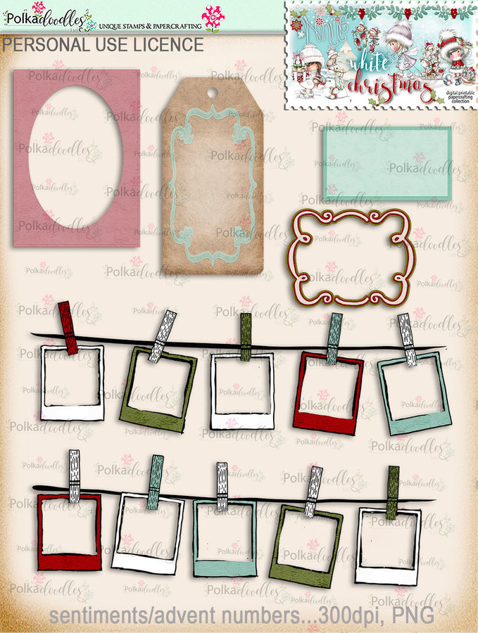 60+ Printable Christmas Tags & Frames - Winnie White Christmas...Craft printable download digital stamps/digi scrap