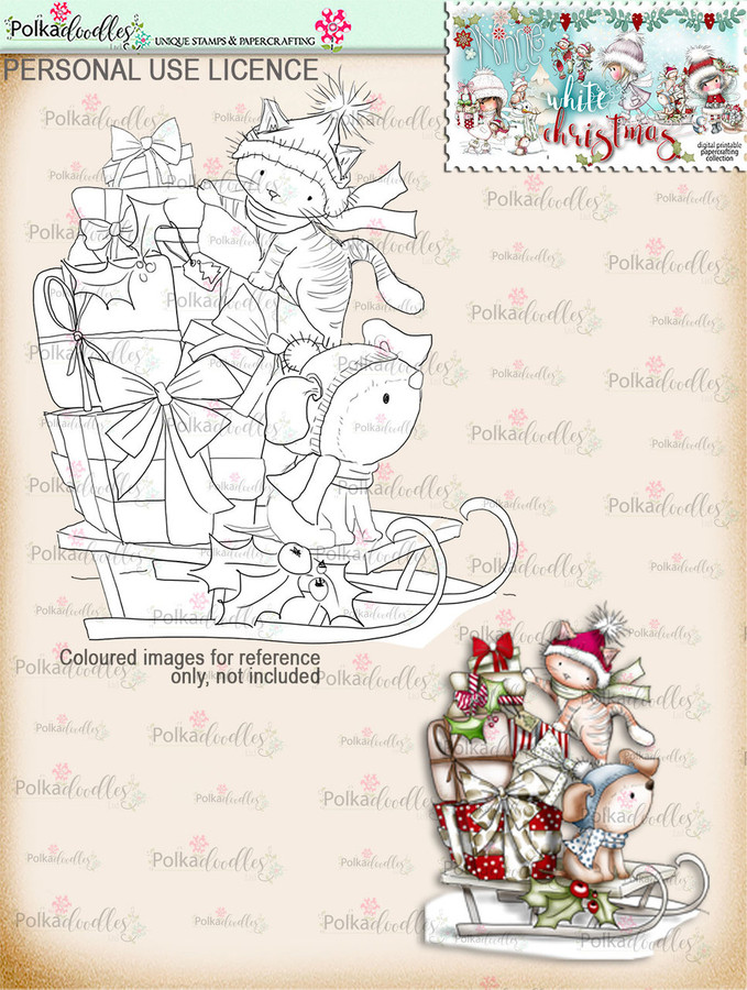 Sleightime Digital Stamp download - Winnie White Christmas printables...Craft printable download digital stamps/digi scrap