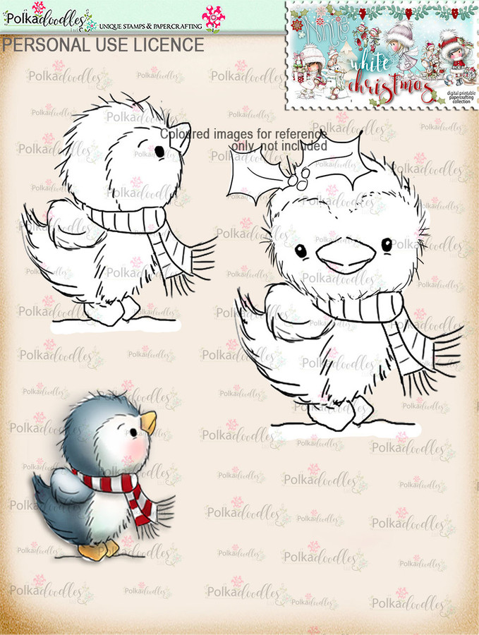 2 Cute Christmas Penguins Digital Stamp download - Winnie White Christmas printables...Craft printable download digital stamps/digi scrap