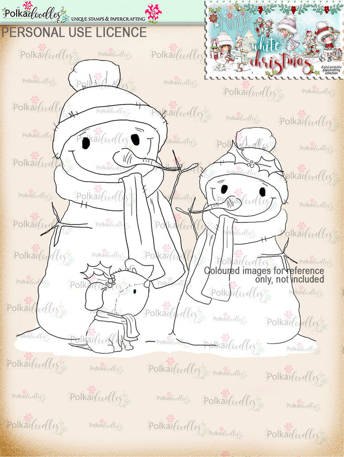 Cute Snowmen/Dog Digital Stamp download - Winnie White Christmas printables...Craft printable download digital stamps/digi scrap
