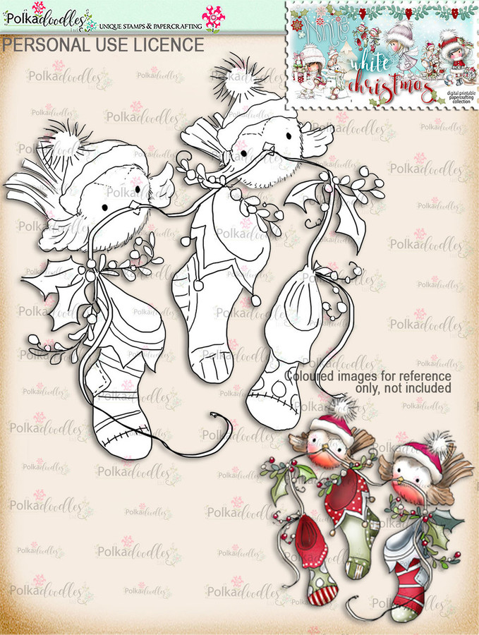 Cute Robins with Stockings Digital Stamp download - Winnie White Christmas printables...Craft printable download digital stamps/digi scrap