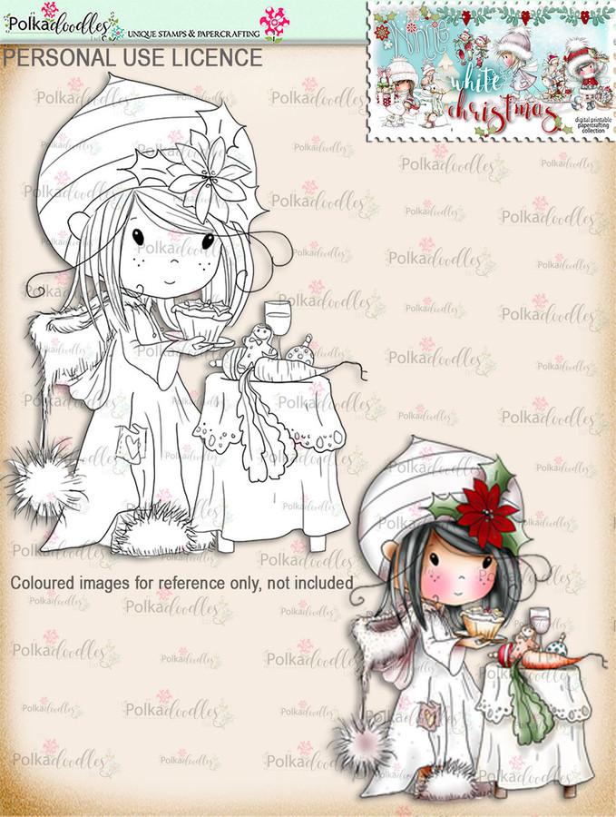 Leaving Mince Pies  - Digital Stamp download. Winnie White Christmas printables.Craft printable download digital stamps/digi scrap