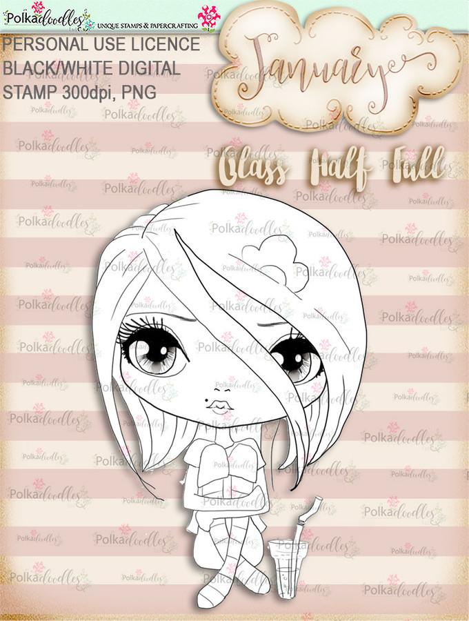 Glass Half Full - January, Life Journal digital stamp download