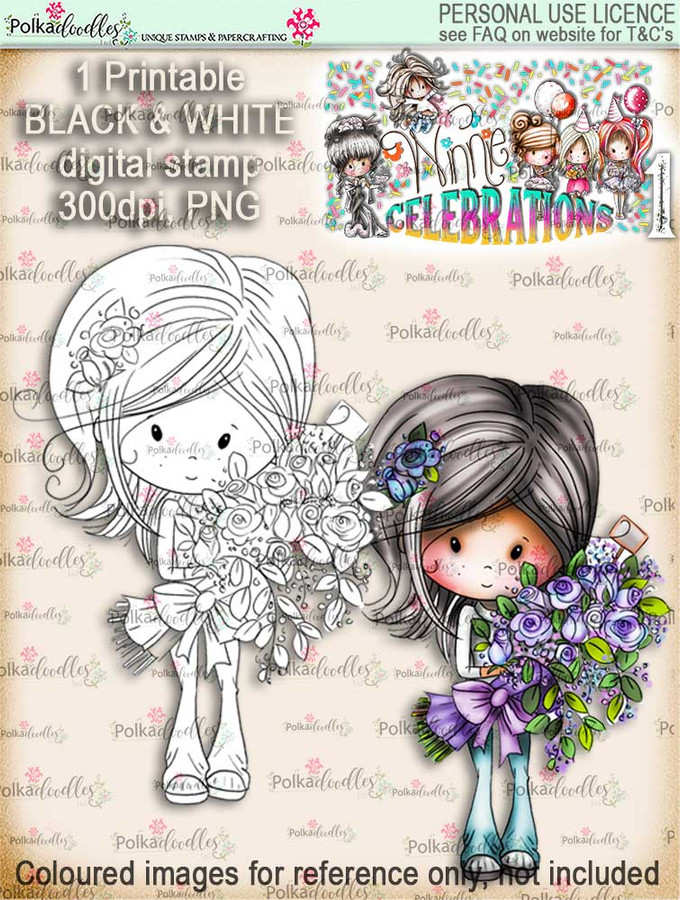 Winnie Celebrations 1... Big Bunch digi stamp printable download