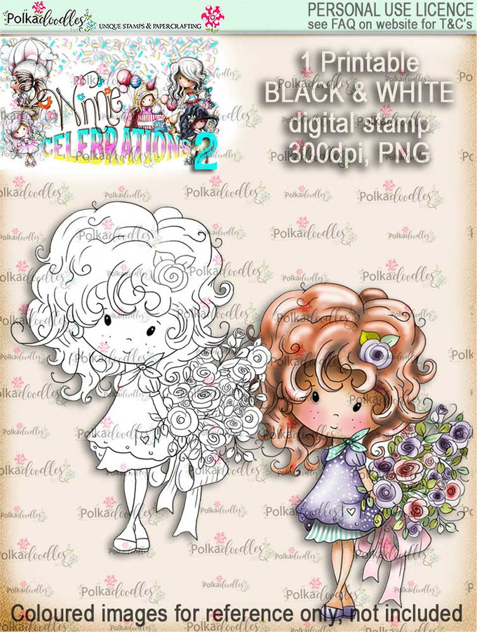 Winnie Celebrations 2...Bouquet, flowers, bunch  black/white digi stamp printable download