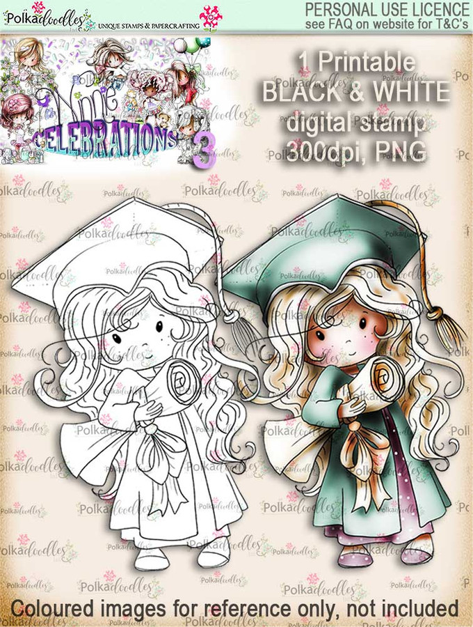 Winnie Celebrations 3...Graduation/You Passed/Well done black & white digi stamp printable download