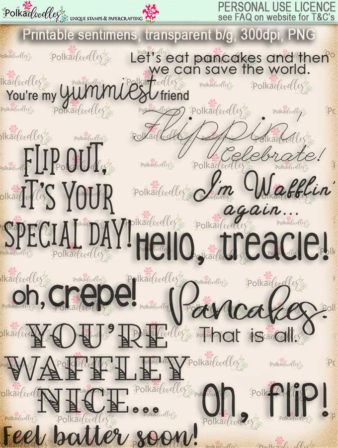 Pancake Heaven themed sentiments - Lil Miss Sugarpops cute digi stamp printable download