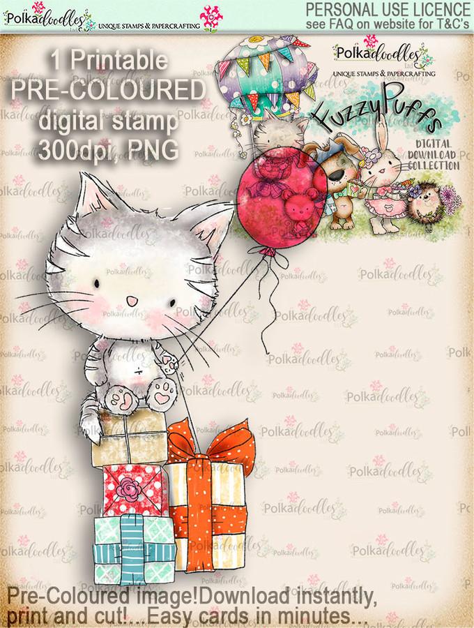 Jasper Kitty Balloon - Fuzzypuffs COLOUR digi stamp printable download
