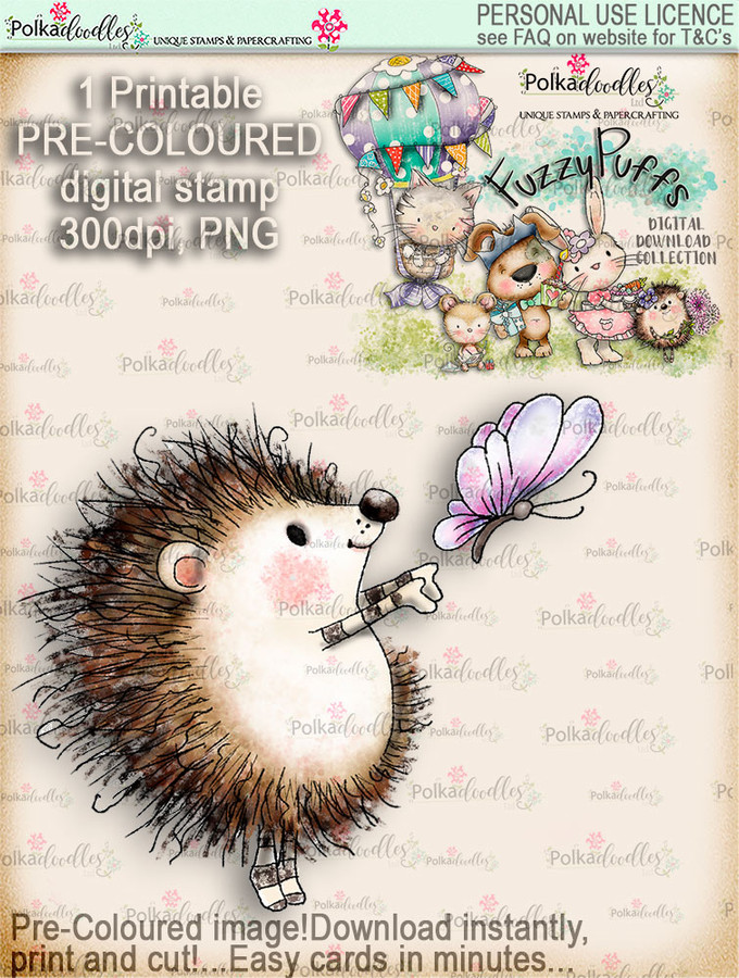 Earlie Hedgehog Butterfly - Fuzzypuffs COLOUR digi stamp printable download