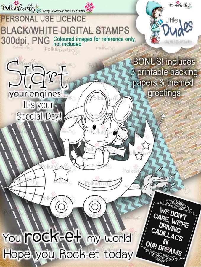 Rocket Car Little Dude - digi stamp printable download