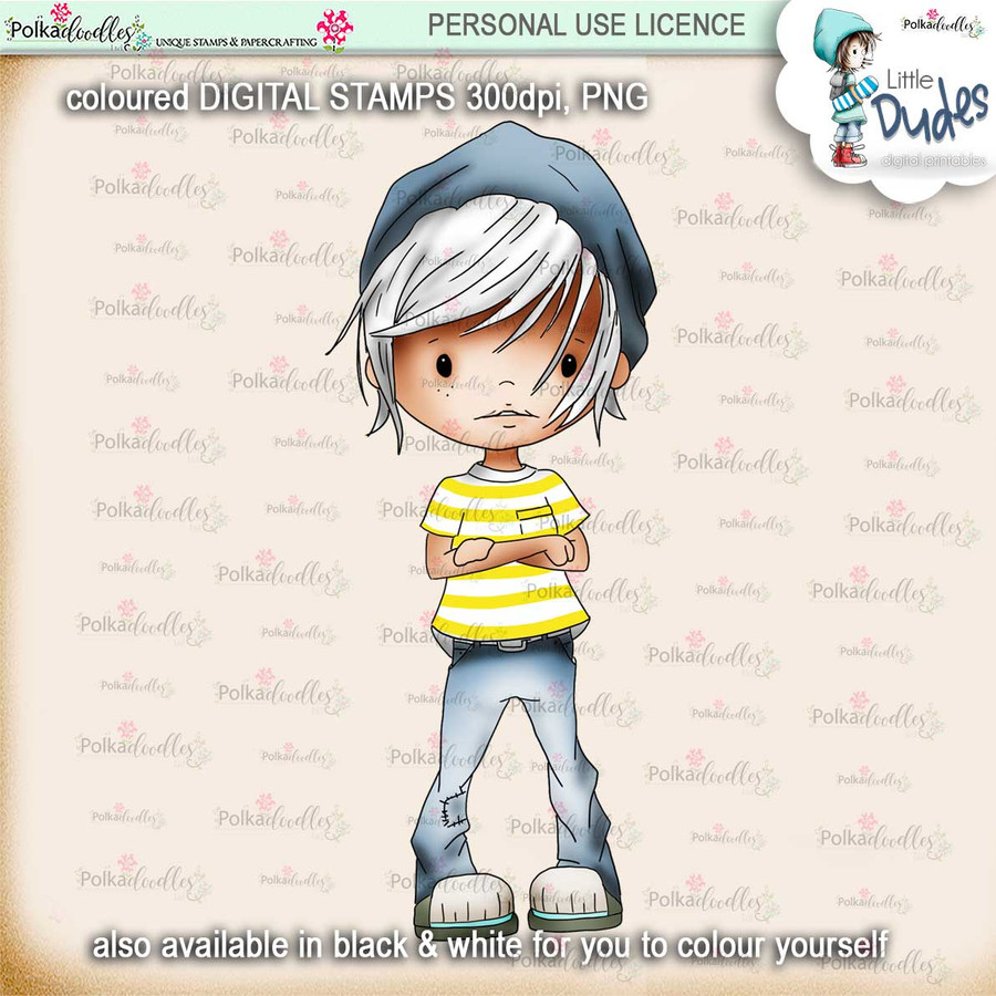 Cool Dude - PRECOLOURED - Little Dudes digi stamp printable download