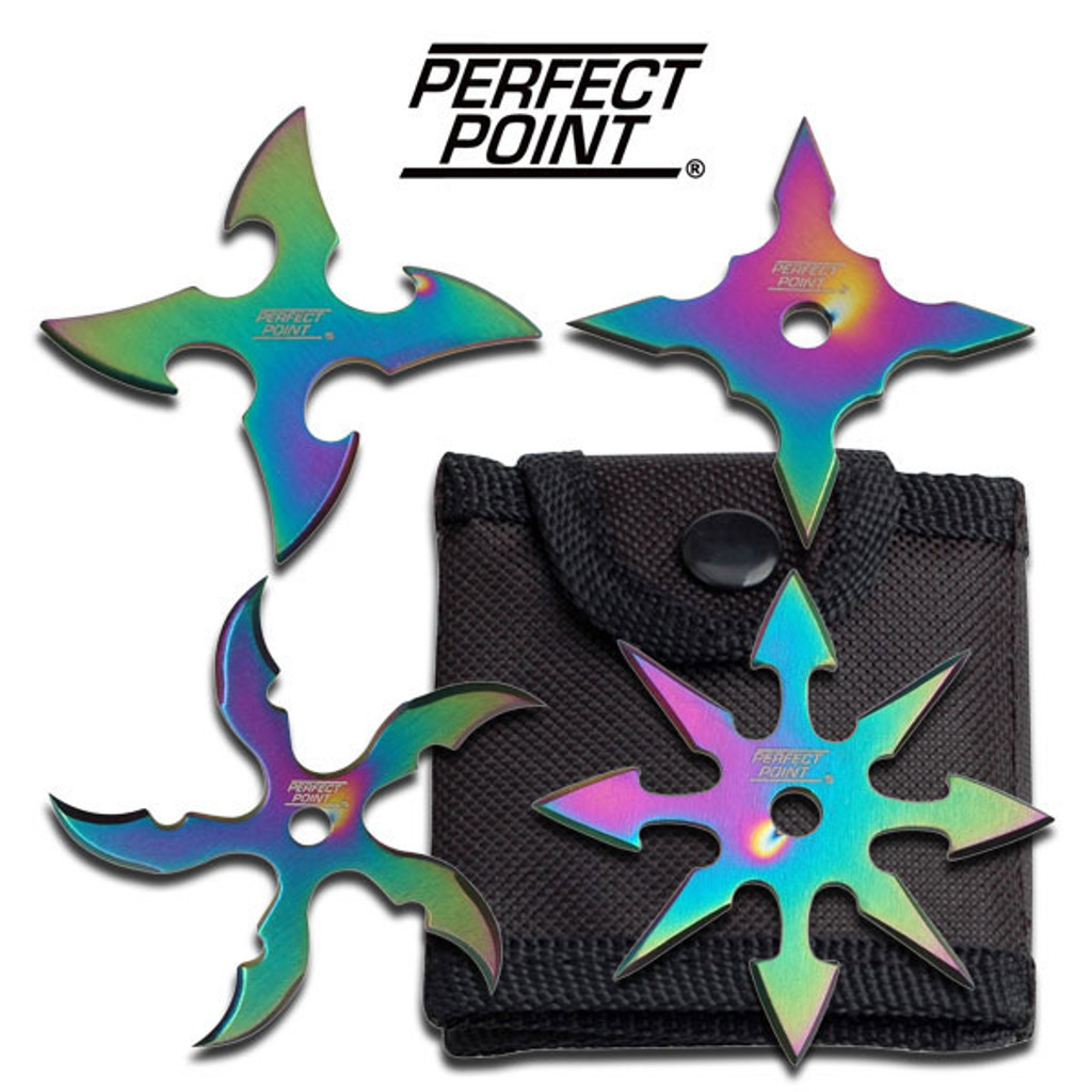 """Perfect Point """"Rainbow"""" 4 piece throwing star set"""