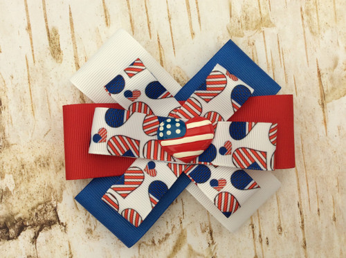 girl s patriotic heart fourth of july hair bow fourth of july