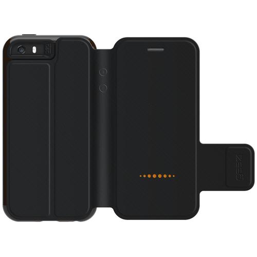 iPhone 5/5S/SE Gear4 D3O Black BookCase   Open Rear