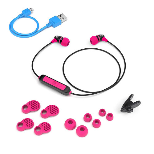 JLab Audio Metal Bluetooth Wireless Rugged Earbuds | Black and Pink | Accessories
