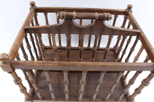 Vintage Wood Magazine Rack Newspaper Stand With Fancy Spindles