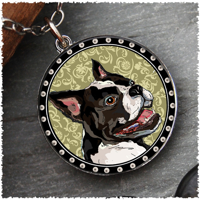 Boston Terrier Reversible Circular Pendant
