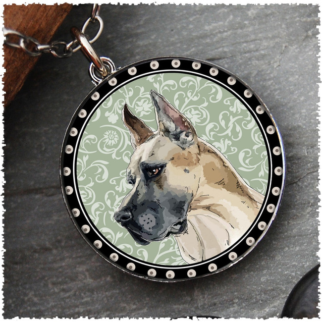 Great Dane Reversible Circular Pendant