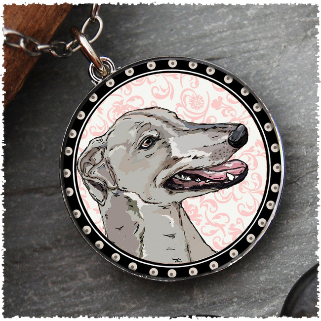 Greyhound Reversible Circular Pendant