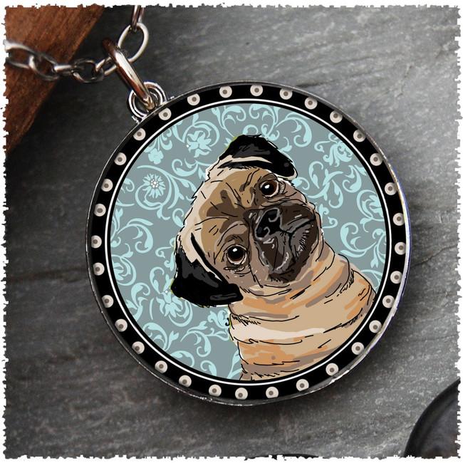 Pug Reversible Circular Pendant