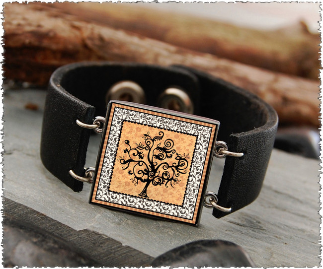 Vintage Tree of Life Orange Double Sided Leather Cuff Bracelet