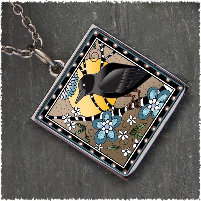 Raven Reversible Square Pendant
