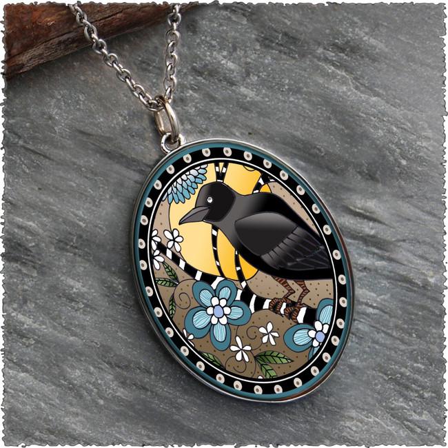 Raven Reversible Silver Oval Pendant