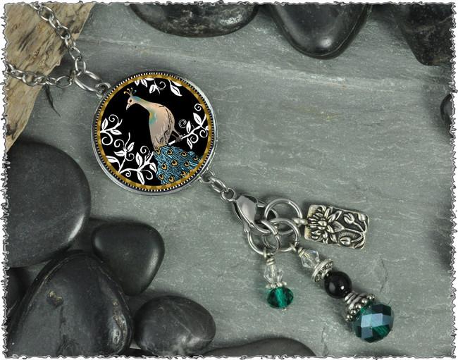 Peacock Black Reversible Circular Charm & Bead Pendant
