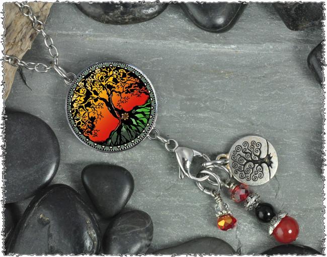 Tree of Life Color Reversible Circular Charm & Bead Pendant