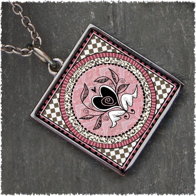 Vintage Heart Reversible Square Pendant