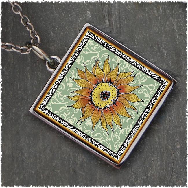 Sunflower Green Reversible Square Pendant
