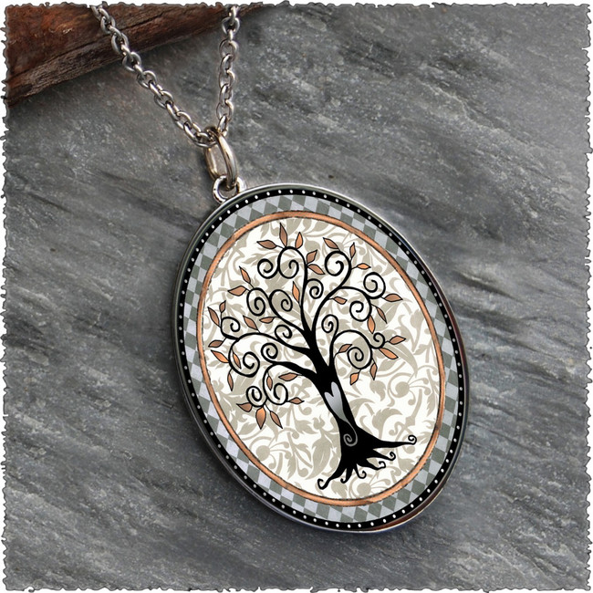 Tree of Life Gray Reversible Silver Oval Pendant