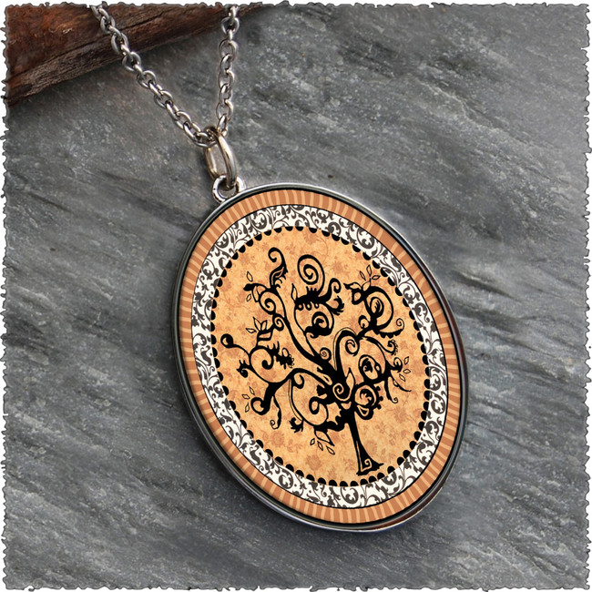 Vintage Tree of Life Orange Reversible Silver Oval Pendant