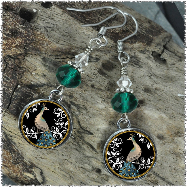 Peacock Black Crystal Circular Earrings