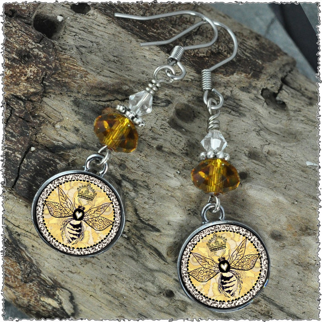 Vintage Bee Crystal Circular Earrings