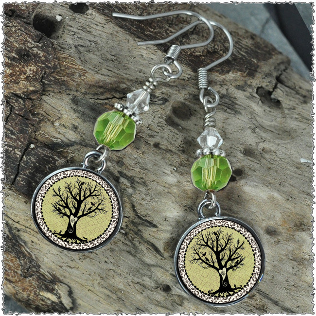 Vintage Tree of Life Green Crystal Circular Earrings