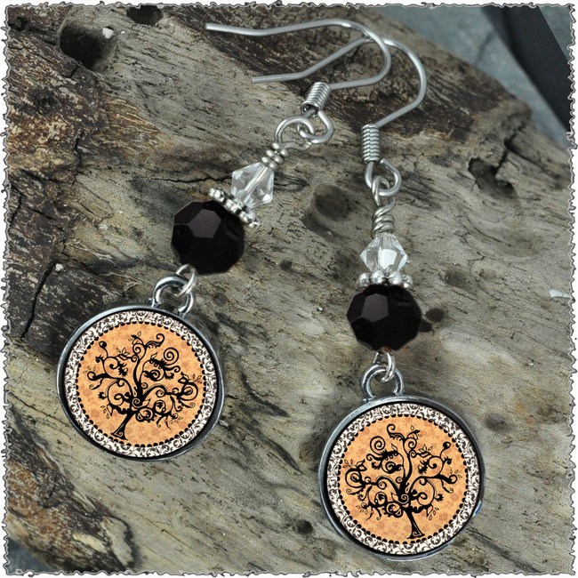 Vintage Tree of Life Orange Crystal Circular Earrings