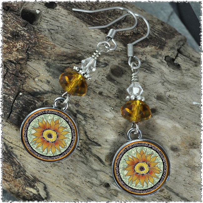 Sunflower Green Crystal Circular Earrings