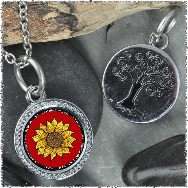 "Sunflower Red ""Tree"" Pendant"