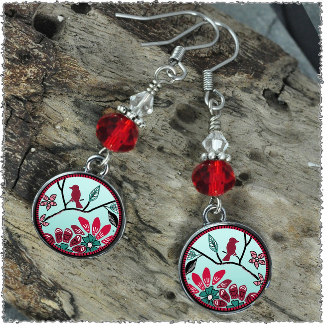 Bird Flower Crystal Circular Earrings