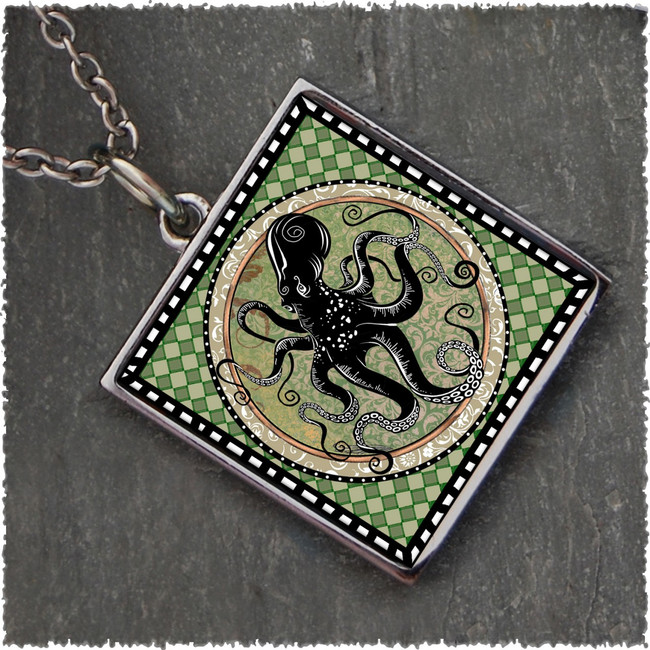 Octopus Square Reversible Pendant