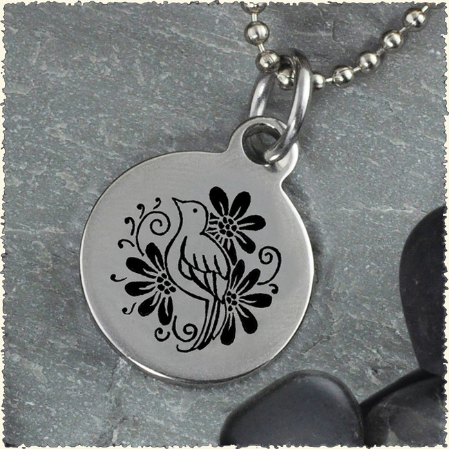 Bird Flower Reversible Stainless Steel Pendant