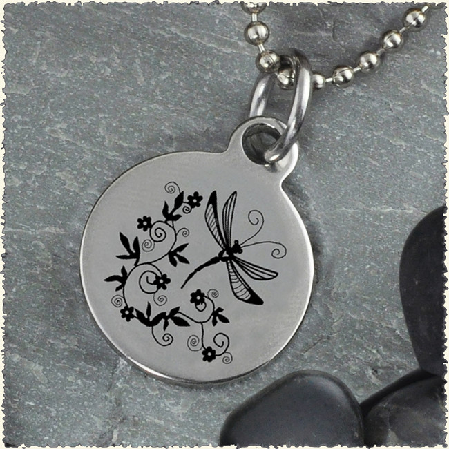 Dragonfly Scroll Reversible Stainless Steel Pendant