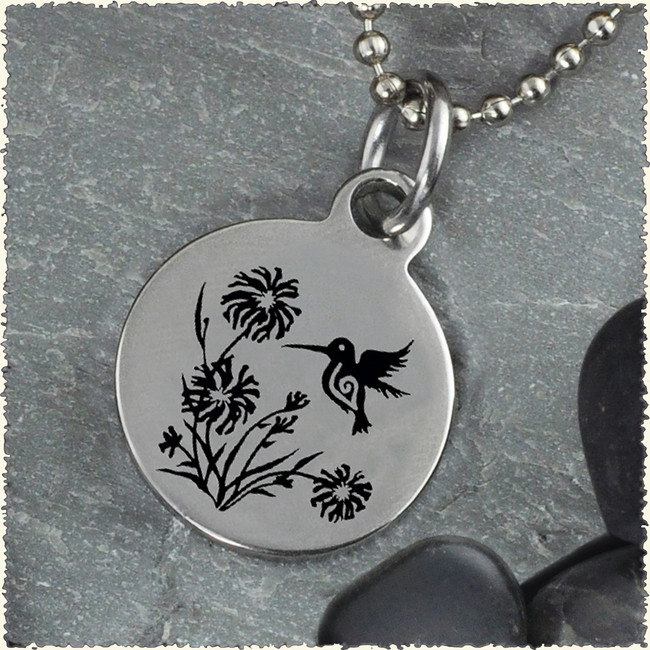 Hummingbird Reversible Stainless Steel Pendant